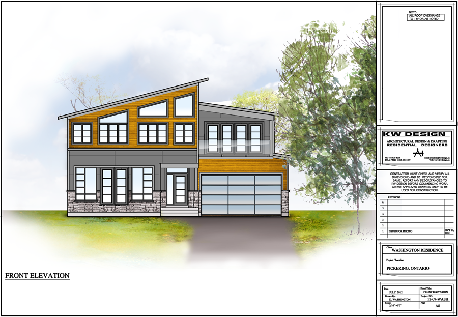 Washington Residence Front Elevation Color Rendering