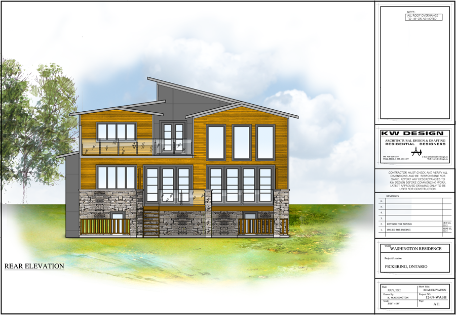Washington Residence Rear Elevation Color Rendering