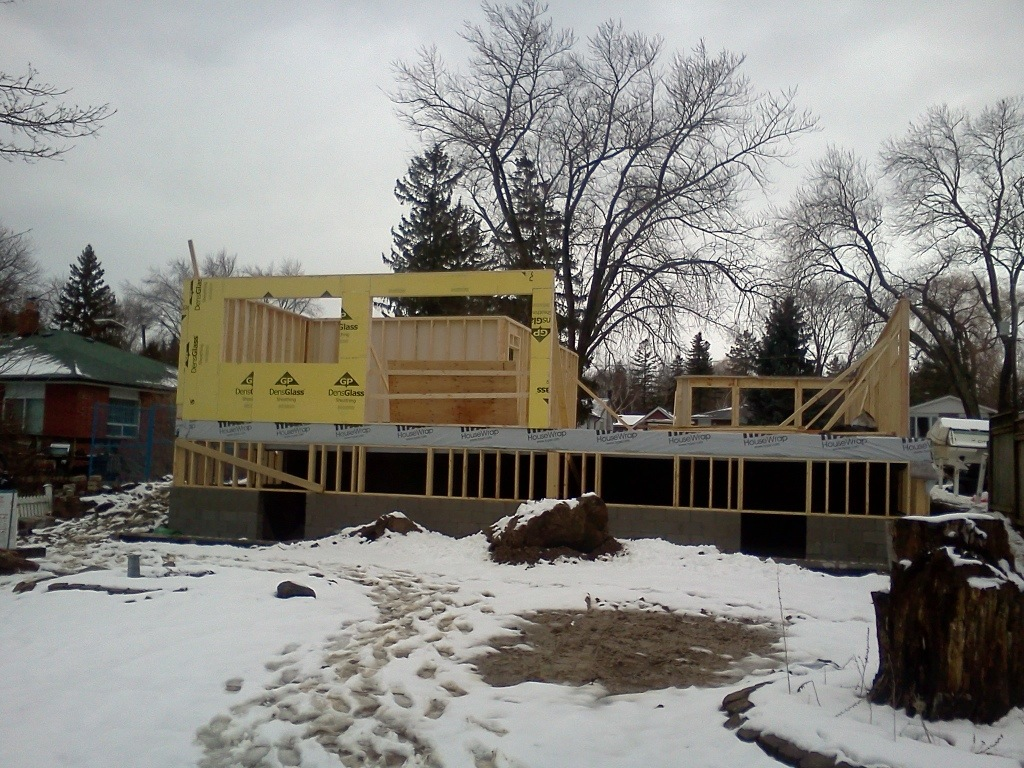 First floor framing underway. Rear house view.