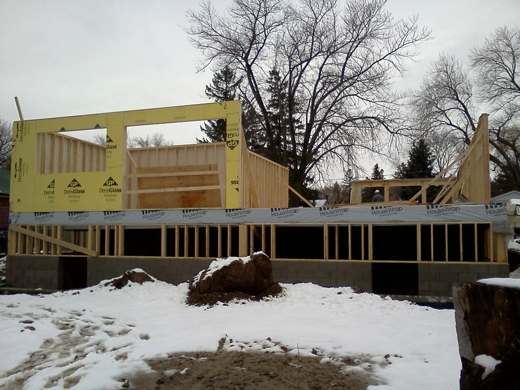 Ground floor framing. Exterior 'kitchen' view