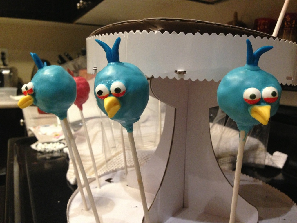 Blue Angry Bird cake pops