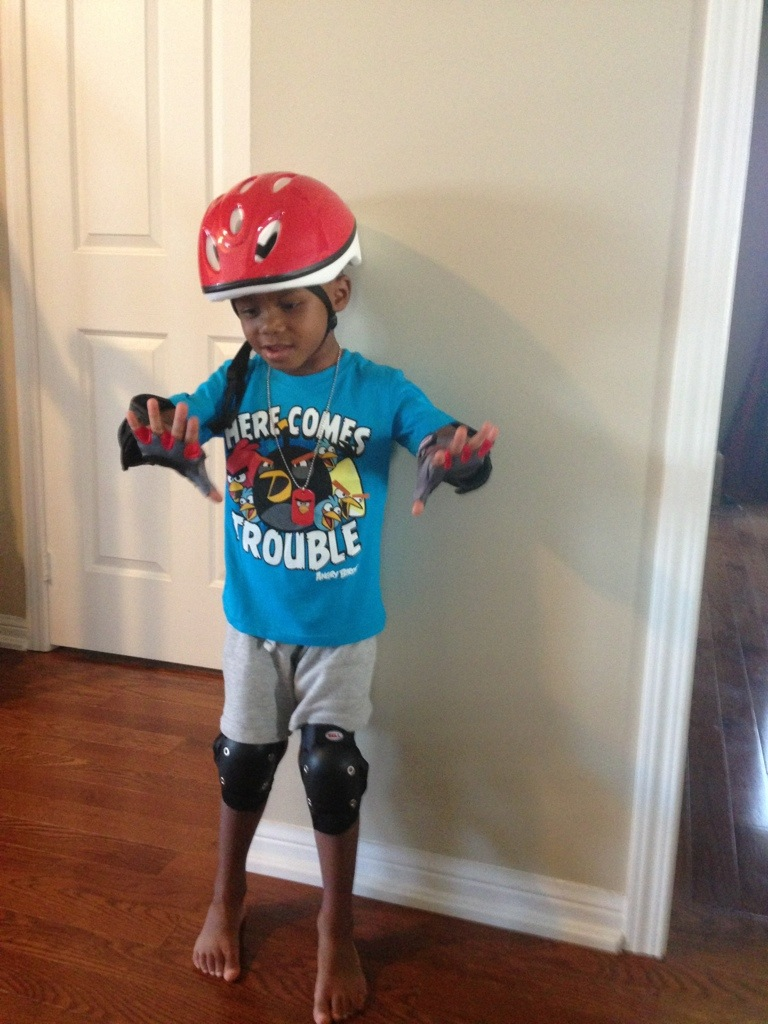 Kash showin off his new bike gear
