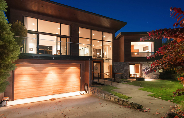 Contemporary exterior with stone via househunters.ca