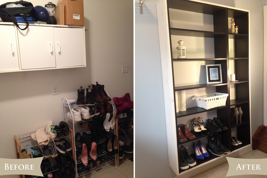 Laundry room reveal - Storage before & after