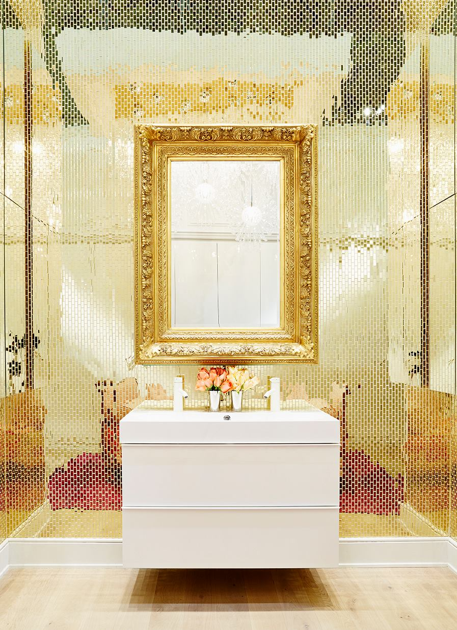 IKEA GODMORGON high gloss white vanity is the perfect contrast to the gold mozaik mirror tiled backdrop