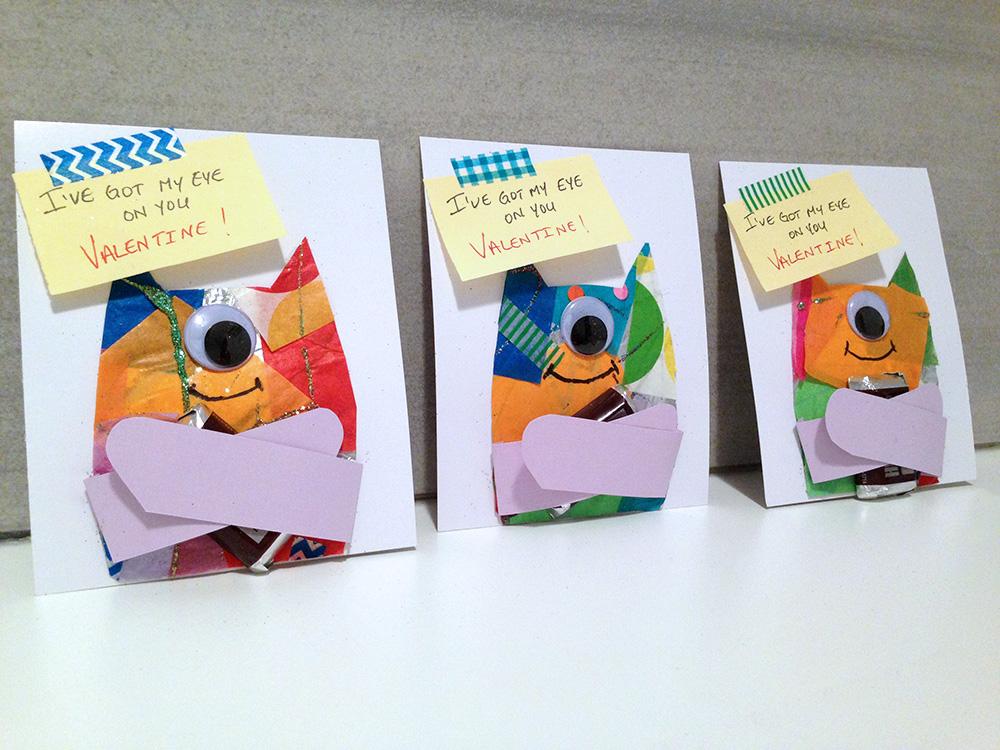 One-eyed monster no-heart Valentine card craft