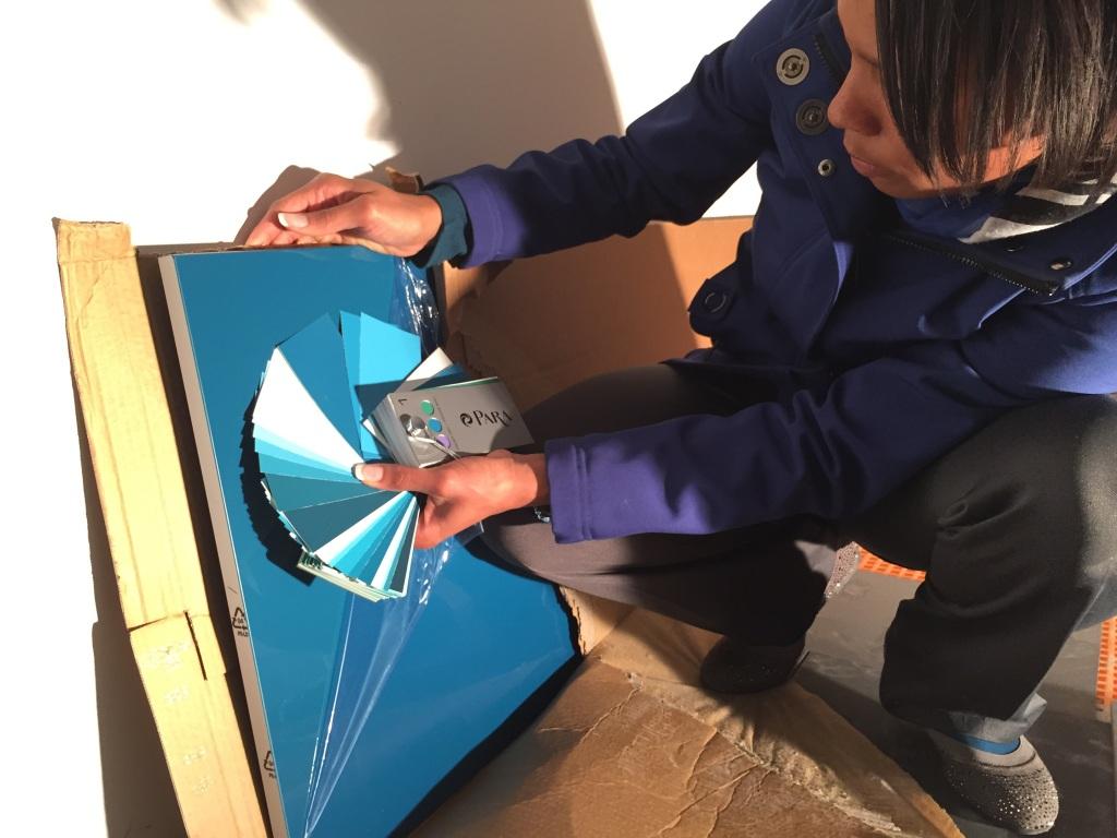 Matching PARA Deep Sea Fishing (P5014-85) to our IKEA Fardal turquoise door