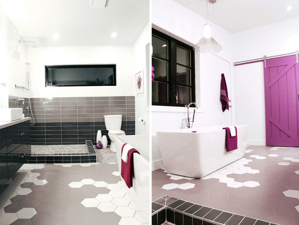 Hex tiled floor in two tone grey & white - Master Bath Retreat   The Dreamhouse Project