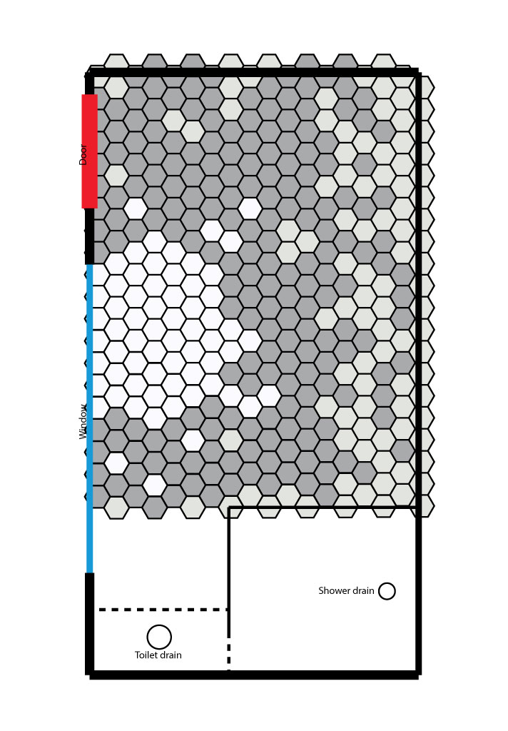 Creating a hex tile pattern floor the dreamhouse project for Tile layout planner