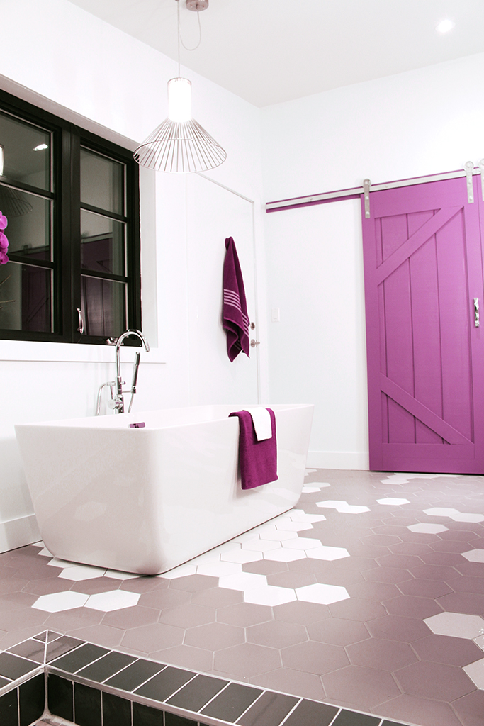 Hex tiled focal point surrounds Loft freestanding tub - The Dreamhouse Project