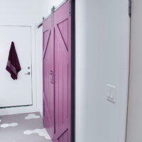 Barn doors painted in PARA Paints Pixie Pop (PF3) as seen from the bedroom entrance