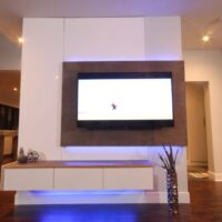 Dreamhouse Project DIY media wall LED lights indigo