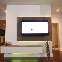 Dreamhouse Project DIY media wall LED lights yellow