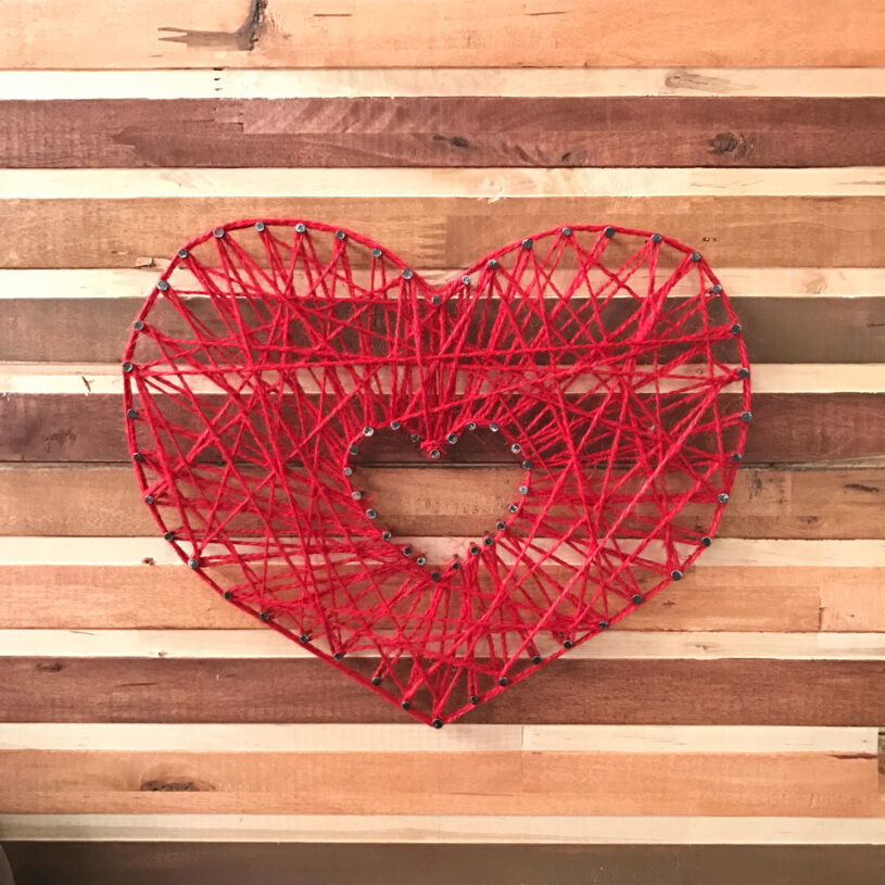 DIY Valentine String Art - close up