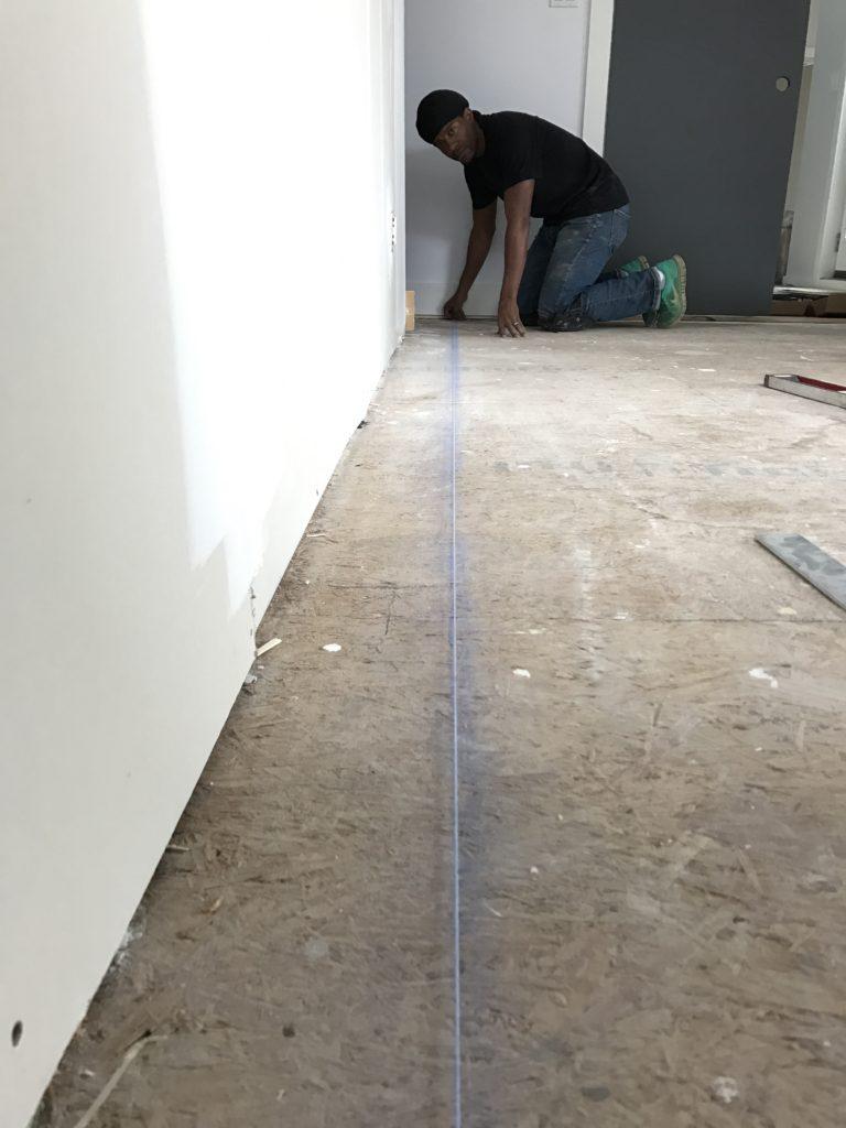 Installing hardwood - always start with a chalk line