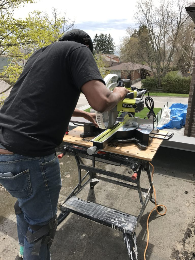 "Kes trying out our new toy - our Ryobi 12"" Sliding Miter Saw"