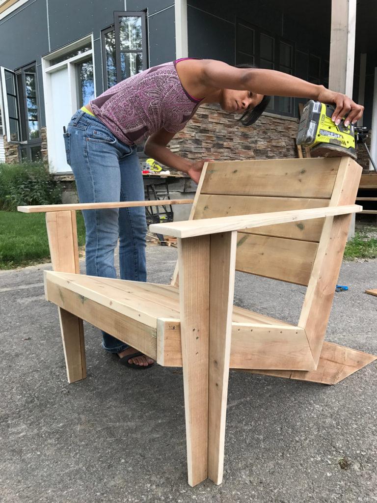 Sanding completed Modern Muskoka Chair