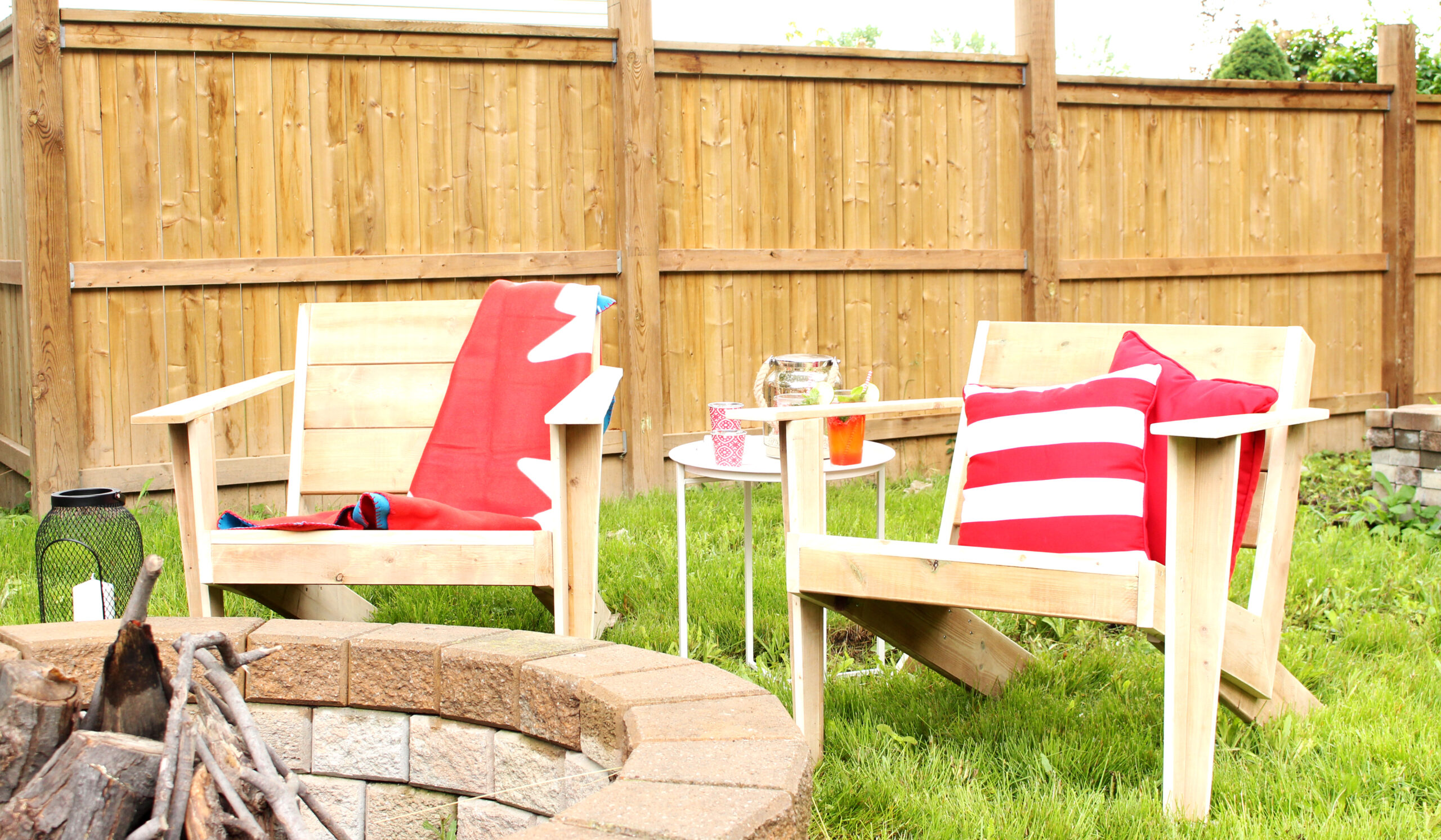 Our modern DIY take on the classic Canadian Muskoka Chair. Perfect for evenings by the fire.