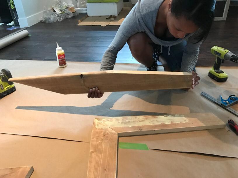 Glue L-frame to attach legs
