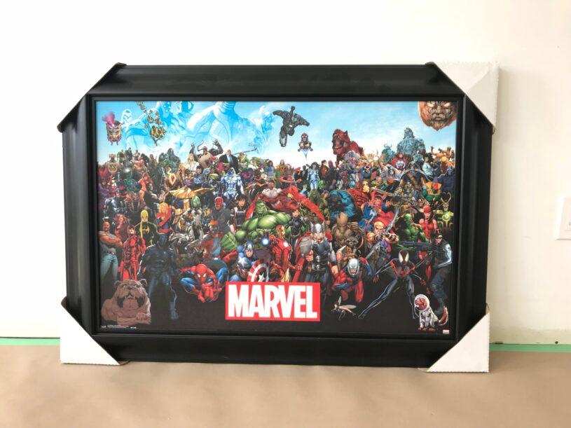 Framed Marvel poster