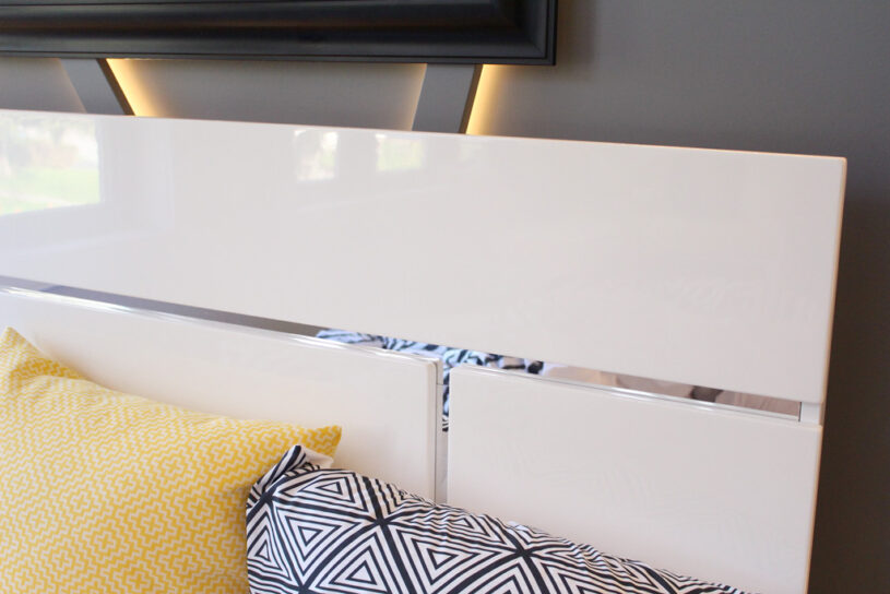 High-gloss finish on the Stanton Queen Platform Bed from The Brick