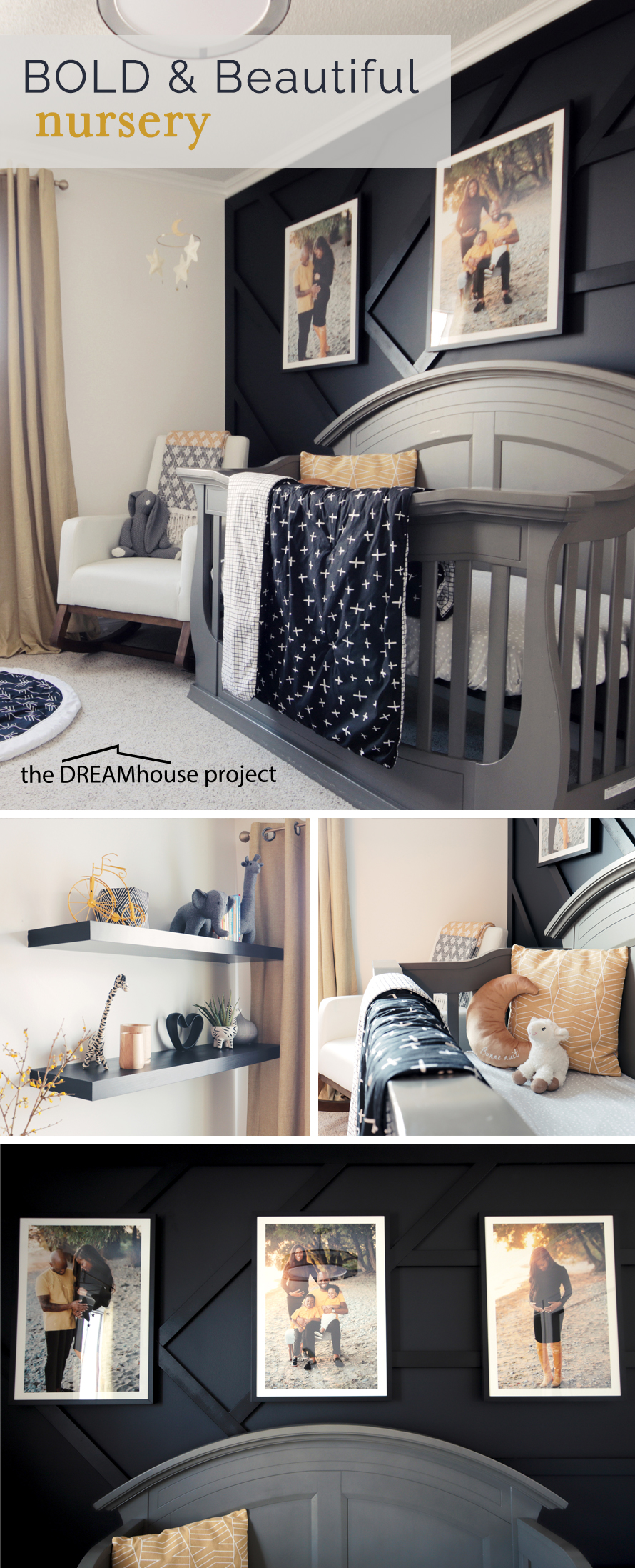 Bold Beautiful Nursery Reveal. Black, white, yellow and gold set a warm yet elegant tone for this high contrast nursery design